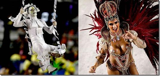 Dancers from the Mocidade and Porto da Pedra samba schools perform at the Sambadrome in Rio de Janeiro, Brazil. (Felipe Dana/Associated Press)