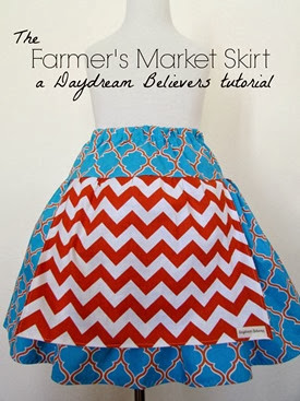 FREE Pattern and Tutorial from Daydream Believers: The Farmers Market Skirt. Sizes 2t -8! Easy to follow DIY guide for creating a drop waist twirl skirt with boutique style apron attachment. www.daydreambelieversdesigns.com
