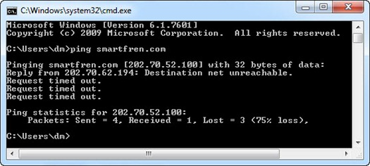 Ping smartfren.com error di Command Prompt