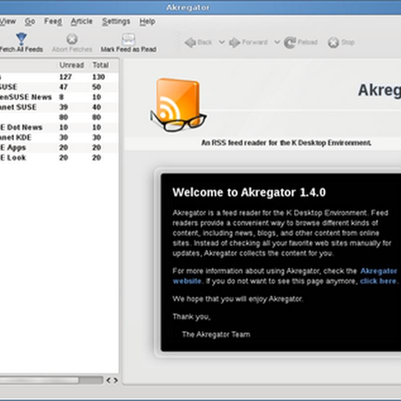 Guía de Akregator: configuración y archivos.