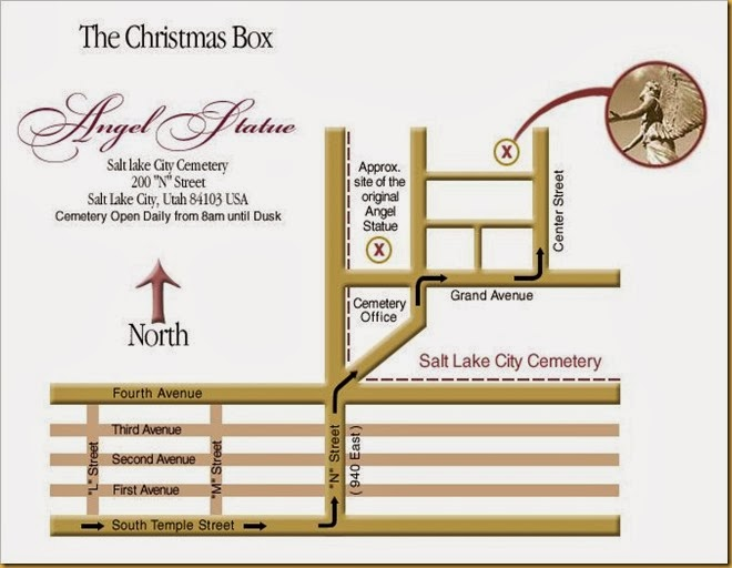 map of christmas box angel