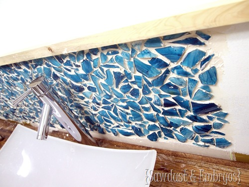 Installing a Mason Jar Mosaic Backsplash {Sawdust and Embryos}