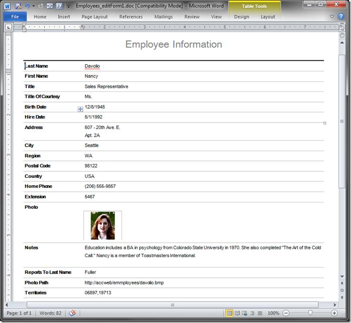 Sample of default report rendered in Word format.