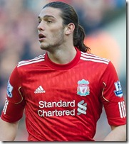LIVERPOOL, ENGLAND - Sunday, March 6, 2011: Liverpool's Andy Carroll is comes from the bench to make his debut against Manchester United during the Premiership match at Anfield. (Photo by David Rawcliffe/Propaganda)