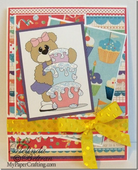 bear girl w cake card-475