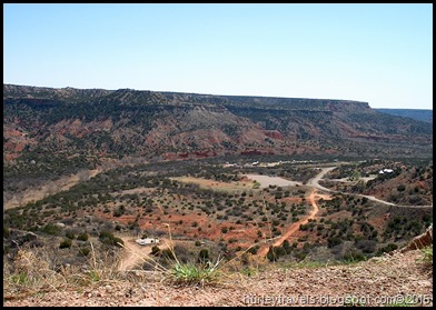 Road leading to Palo Duro Canyon State Park campground.