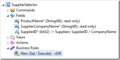 SQL Business Rule handling New action in SupplierSelector data controller.