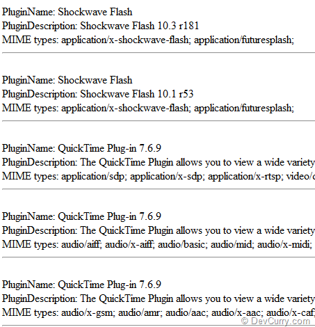 JavaScript Plugin Detection