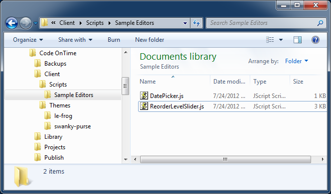 Sample contents of '[Documents]\Code OnTime\Client' folder.