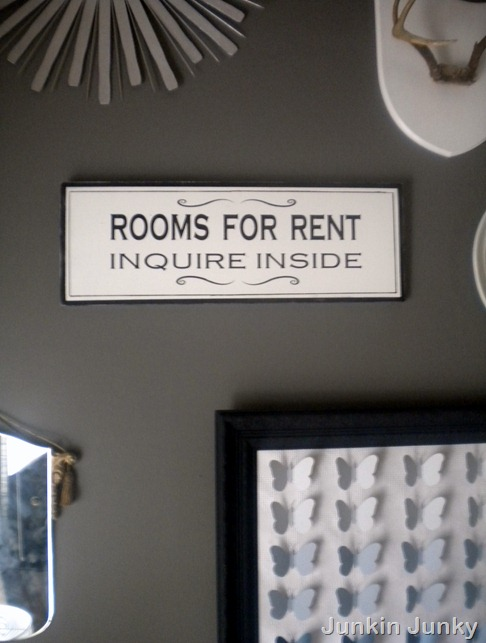 Rooms For Rent sign PB Knock off at JunkinJunky.blogspot.com