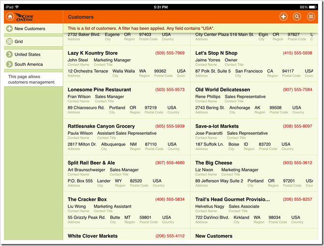 A web app created with Code On Time is displayed full screen on iPad Air.