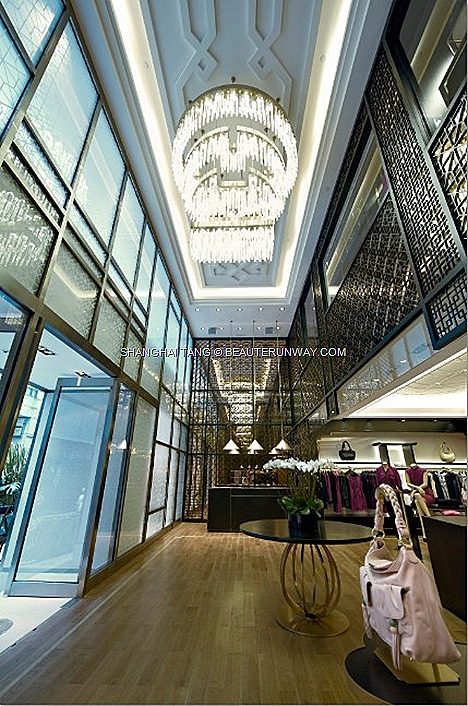 SHANGHAI TANG MANSION FLAGSHIP HONG KONG NEW 1 DUDDELL STREET opulent luxurious store Grand Foyer with Shou symbol crystal chandelierReady-to-Wear & Accessories Spring Summer 2012 Fall Winter Women Mens Kids