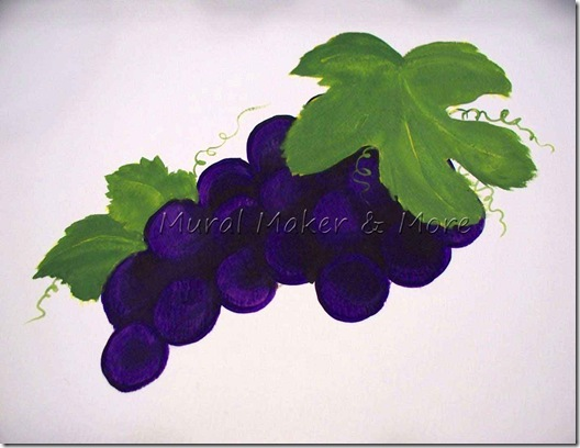 How to paint grapes and grape leaves
