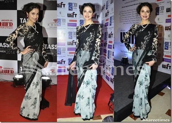 Divya_Khosla_Black_White_Half_and_Half_Saree(1)