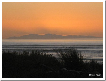 Sunset over the South Island as seen from Otaki Beach last evening.