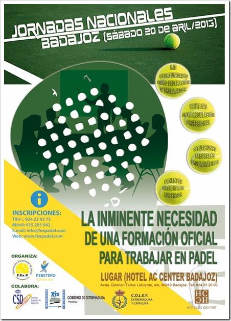 Jornadas Nacionales sobre la formación oficial en el ámbito pádel en Badajoz, 20 abril 2013.