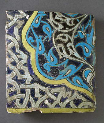 Tile | Origin: Turkey | Period:  last quarter of 14th century | Collection: The Madina Collection of Islamic Art, gift of Camilla Chandler Frost (M.2002.1.113) | Type: Ceramic; Architectural element, Earthenware, glaze-painted, 12 1/8 x 10 3/4 in. (30.79 x 27.3 cm)