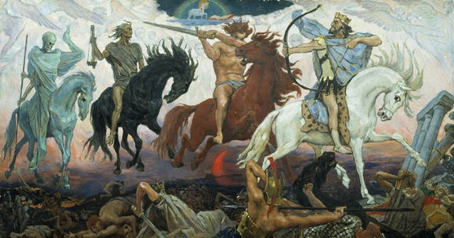 The Four Horsemen of the Apocalypse, by Viktor Vasnetsov, 1887. Graphic: via youarenownearingtheend.blogspot.com