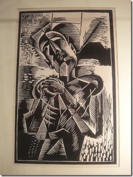 Cubist woodblock print