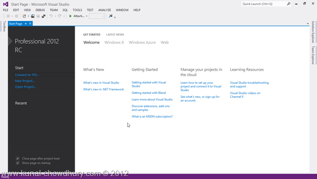 VS2012 Installation Experience - Visual Studio 2012 RC Start Page