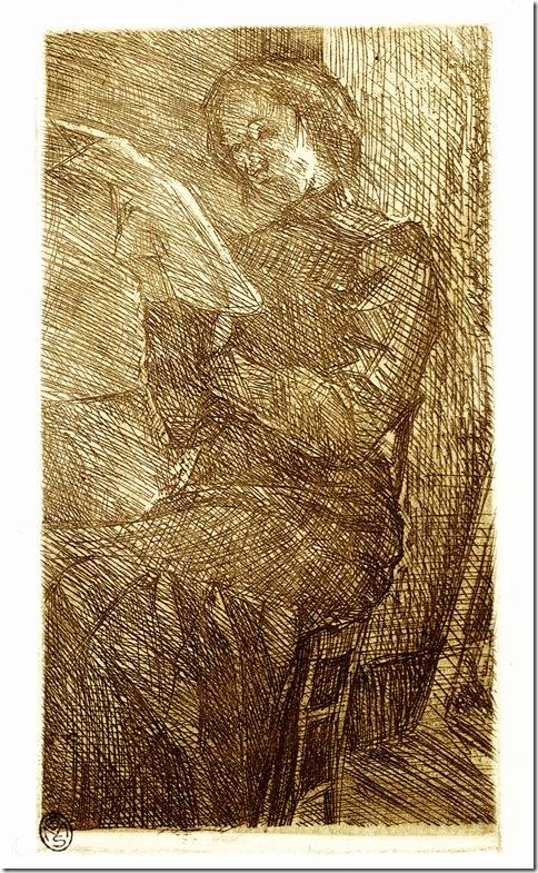 Umberto Boccioni_Donna che legge,1910 acquaforte-Milano