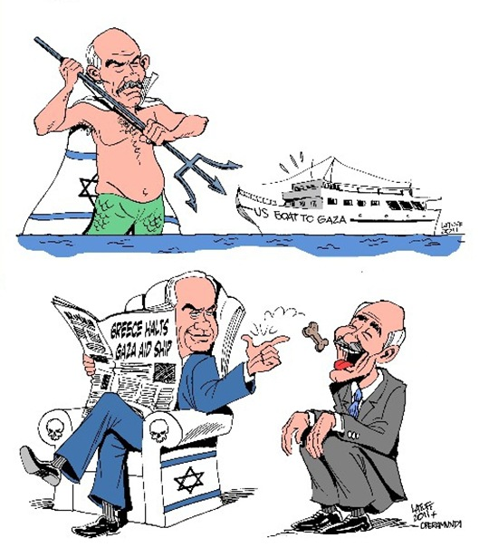 Carlos Latuff on Greece holding flotilla ships