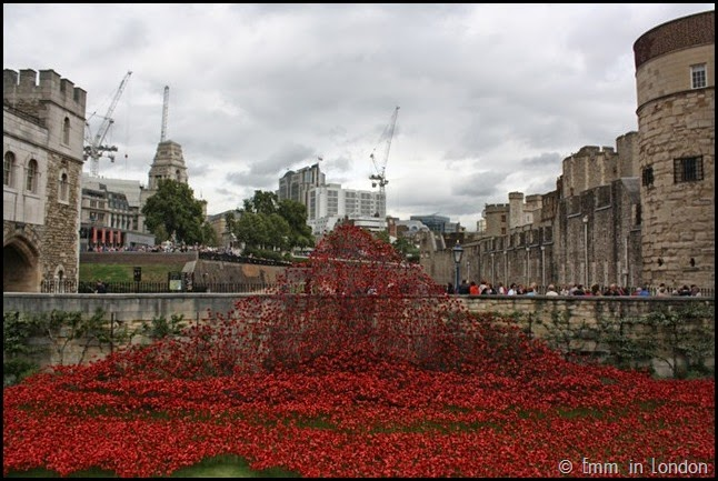 Ceramic poppies cascading into the Tower of London
