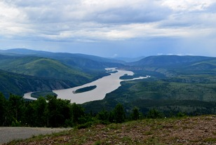 The Yukon River flowing north from Dawson