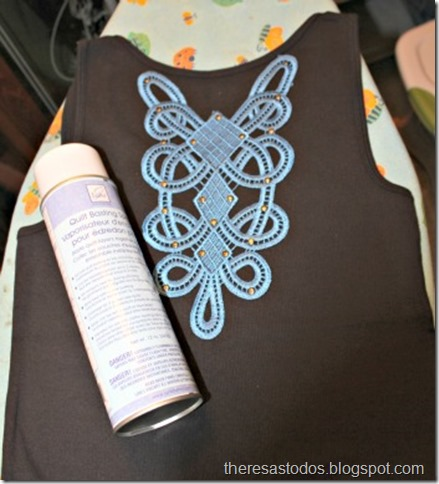 Tank Refashion, Adhere Lace Insert with Quilting Spray