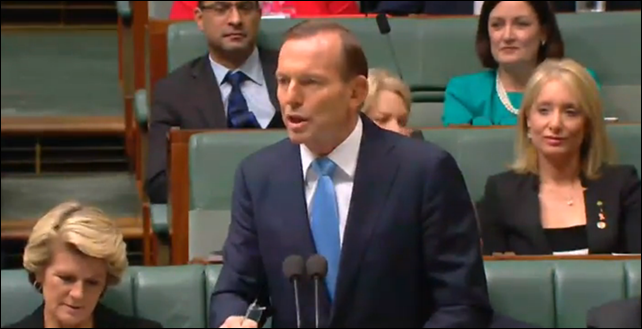 Australia PM Tony Abbott addresses the Senate, 20 March 2014. 'The carbon tax is an act of economic vandalism,' the Prime Minister told question time. 'You can't trust (Labor) anywhere near an economy.' The Abbott government failed in its first bid to scrap the carbon tax, with the Senate refusing to pass a package of bills to repeal the Gillard-era climate change policy. Photo: AAP