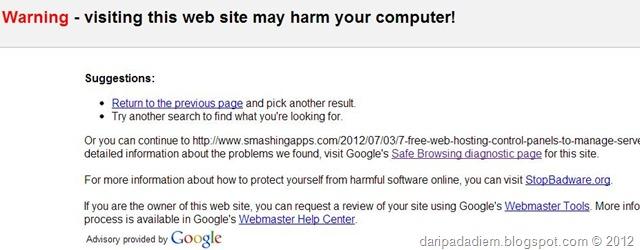 Google blacklist, dan cara mengetahuinya.