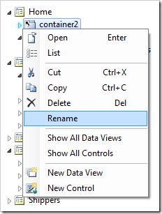 Rename context menu option for 'container2' node in the Project Explorer.