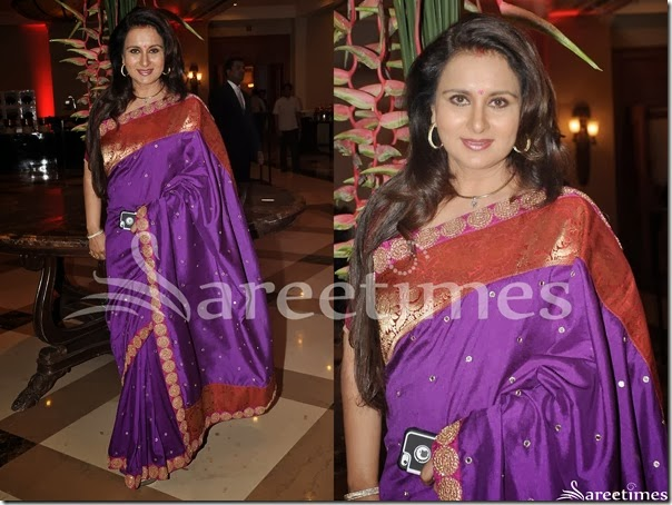 Poonam_Dhillon_Purple_Traditional_Silk_Saree