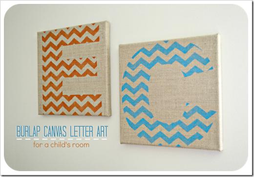 burlap canvas letter art