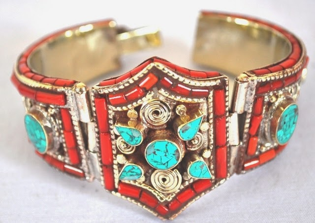 German Silver Bangles with turquoise and coral