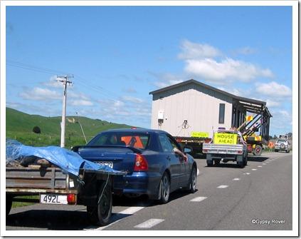 House moving Kiwi style on SH2 near Dannevirke.