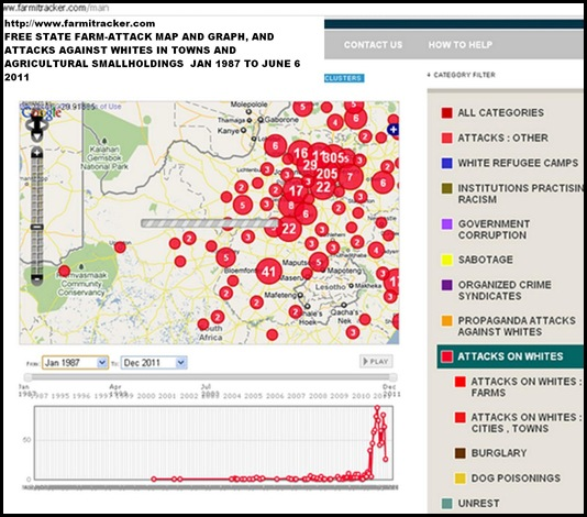 FREE STATE ATTACKS MAP JAN1987 JUNE62011 with graph