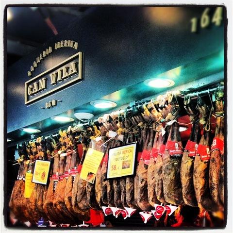 Hanging hams at La Boqueria