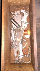 old sewing machine New Home drawer w tools