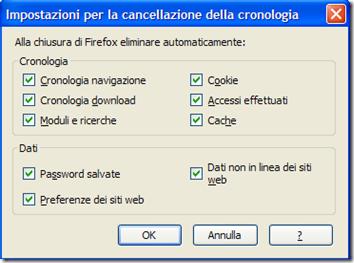 Firefox Impostazioni per la cancellazione della cronologia