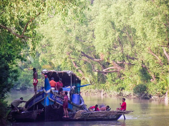 Fishing boats inside a canal of Sundarbans