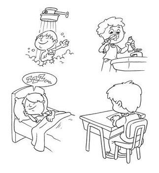 Resultado de imagen para una imagen para colorear de unos niños y su autocuidado