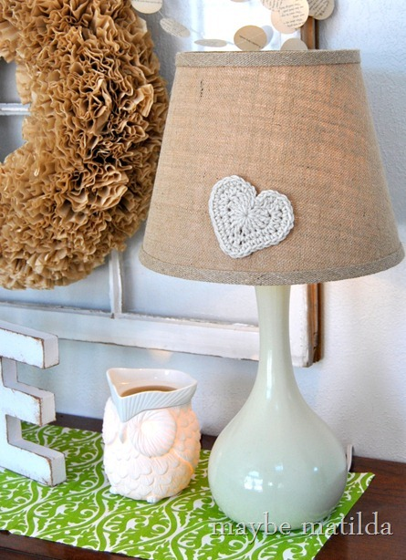 Crocheted heart on lampshade