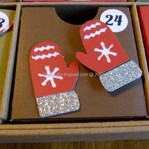 CTMH Cricut Artiste, shimmer & ribbon Cranberry Cardstock mittens Advent Calendar