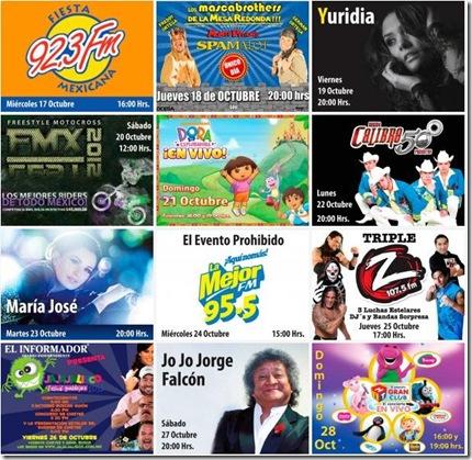cartelera de artistas y eventos en foro principal de fiestas de octubre 2012