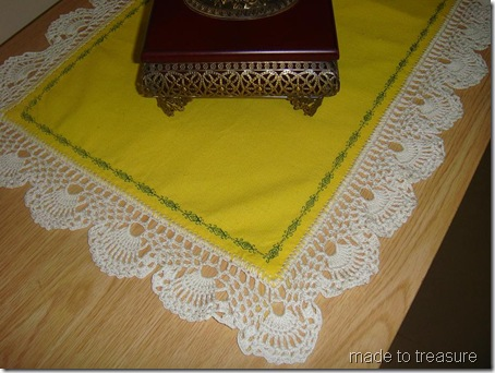 yellow runner with crochet edging and decorative stitch