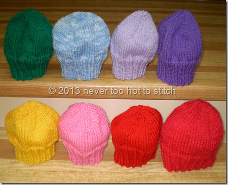 2013 - neo-natal hats first seven plus SJ's first