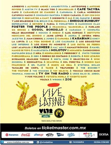cartel vive latino 2012 de bandas