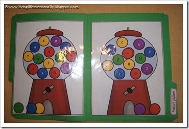 Gumball Letters Alphabet File Folder Game