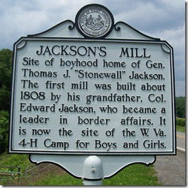 "Jackson's Mill marker Boyhood Home of Thomas ""Stonewall"" Jackson"